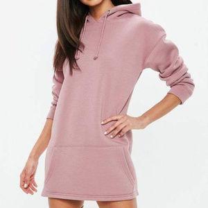 Missguided Petite Pink Hooded Sweatshirt Dress